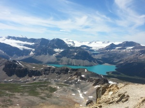 Bow Lake, Bow Glacier, and Portal Peak in the distance.